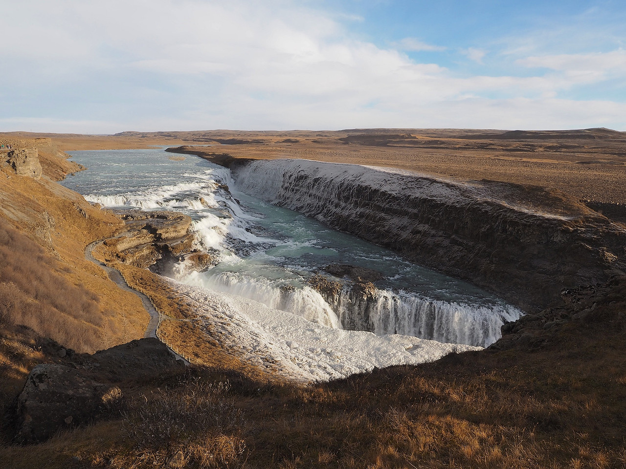 Gullfoss waterfall. Olympus E-M1, 12mm This is one massive & powerful waterfall. Plenty of opps for wide shots together such as this which nicely captures the scale of these falls.