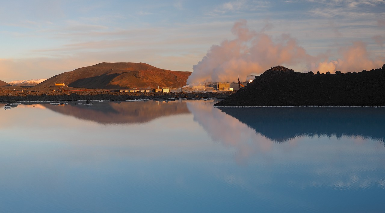 Blue Lagoon Geothermal pools. Olympus E-M1, 12-60mm SWD 4/3 lens. F5, 1/100s, ISO 200. The milky blue waters of the geothermal lagoon with setting sun. Excellent light and shadows.