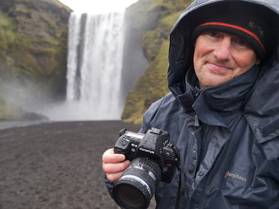 The mighty Skogafoss waterfall in south Iceland. Get close and a good drenching beholds. Thats exactly what I did with the E5. We both got soaked.