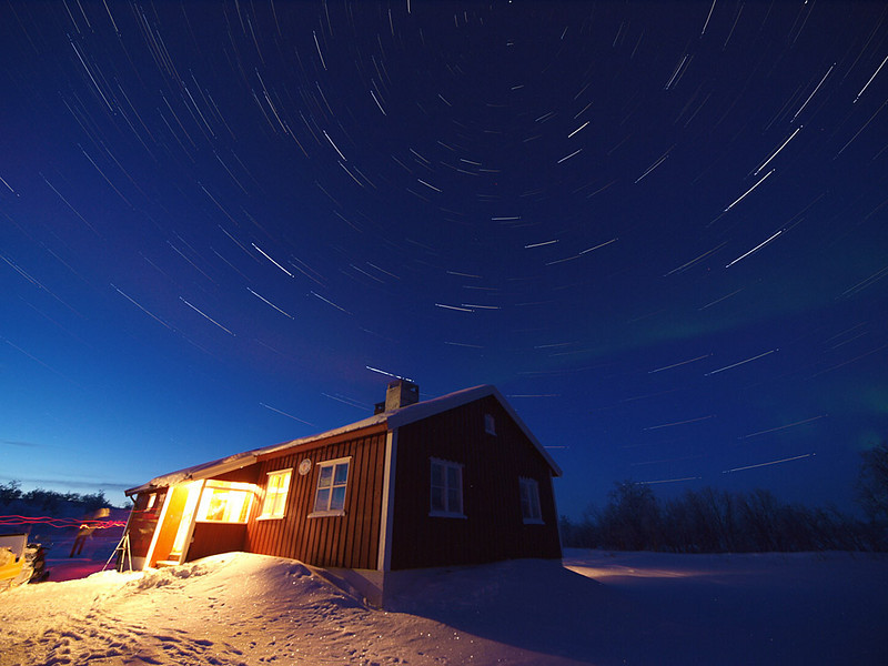 My first star trail shot of the trip. I only managed 40 mins worth as the batteries gave up with the cold (-30C). A few technical changes after this attempt. The process - Using time lapse controller set at 15s intervals and 15s exposure time just run the camera. I added all the stills (high res JPEG) to Startrail.de software which outputs a single layered image, effecting the total time passage of the stars. The effect of earth rotating, visualised via the star trail. Olympus E3, 7-14mm