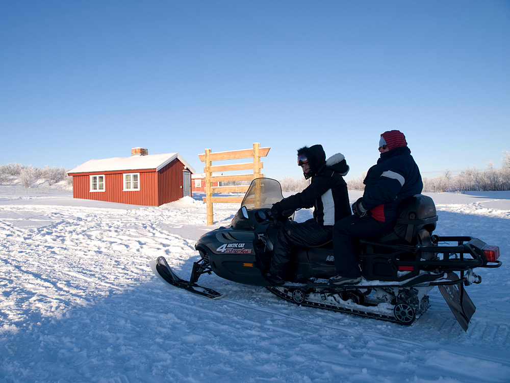 Deb and PJ getting to grips on the skidoo.