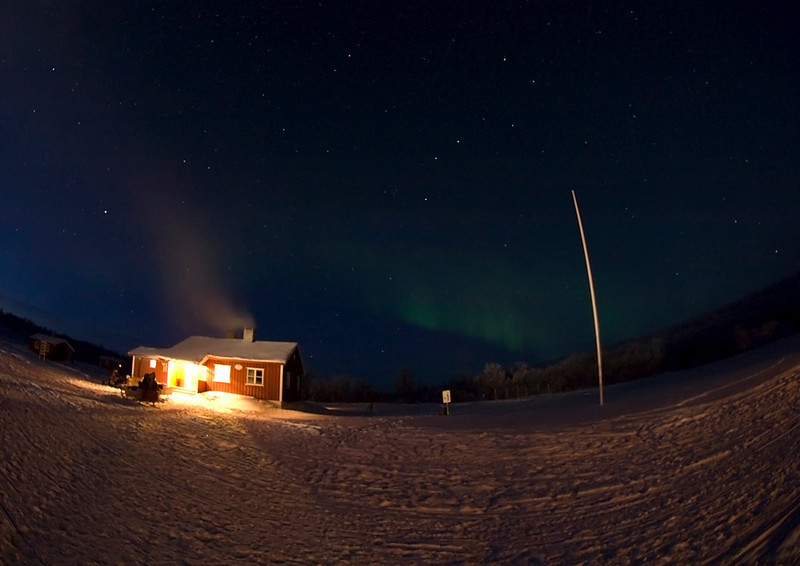 Clear skies again at base camp. Aurora or Northern Lights came out early at 6pm as a weak glow. It slowly strengthened as the night progressed culminating in a dazzling Valentine day display. Olympus E3, 8mm fisheye