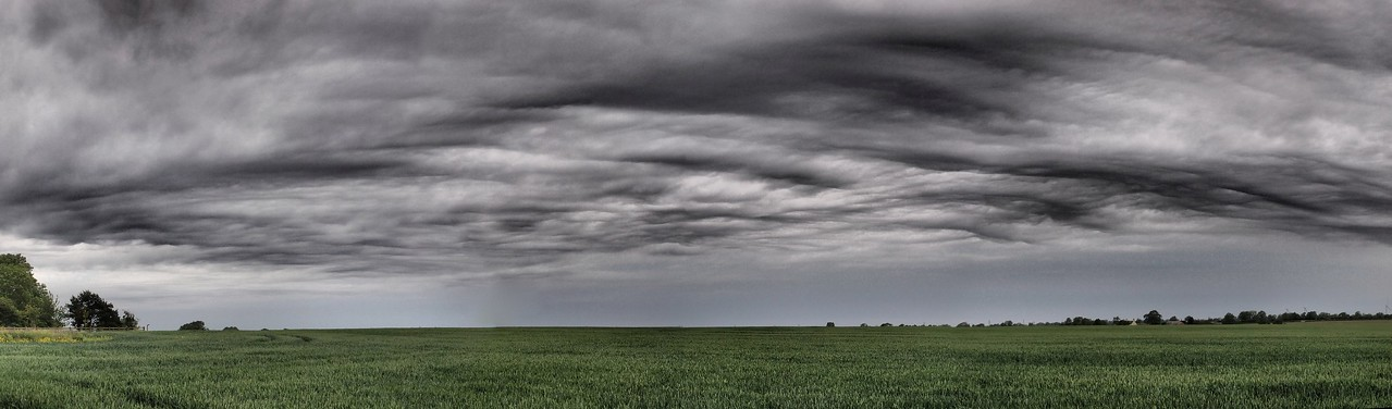 June 5th 2011. A picture panorama stitch of some amazing undulatus cloud structure near home in Sth Leics. Captured with the Oly E5 & 12-60mm SWD using the dramatic tone art filter.