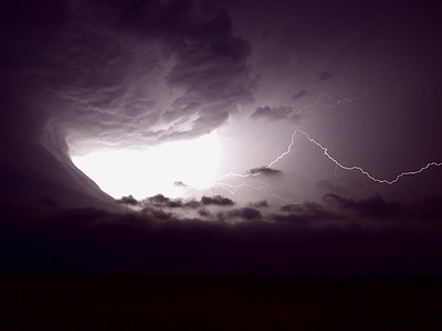 The best lightning photo I have ever taken. This storm was like something from outer space. Oklahoma, USA.  Olympus E10, 9mm, 8s, F2.0