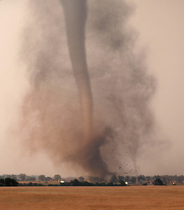 Stunning tornado on ground at Harper, Kansas, USA. Damage to farm buildings evident. Olympus E1, 50-200mm, 1/200s, F5.0