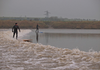 Steve & Dave riding the Severn Bore.