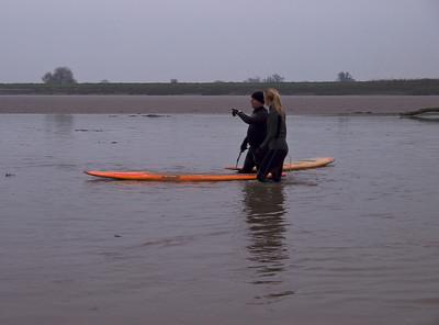 Steve King awaiting bore arrival. Angie, a marine biologist, undertaking field work ;-)
