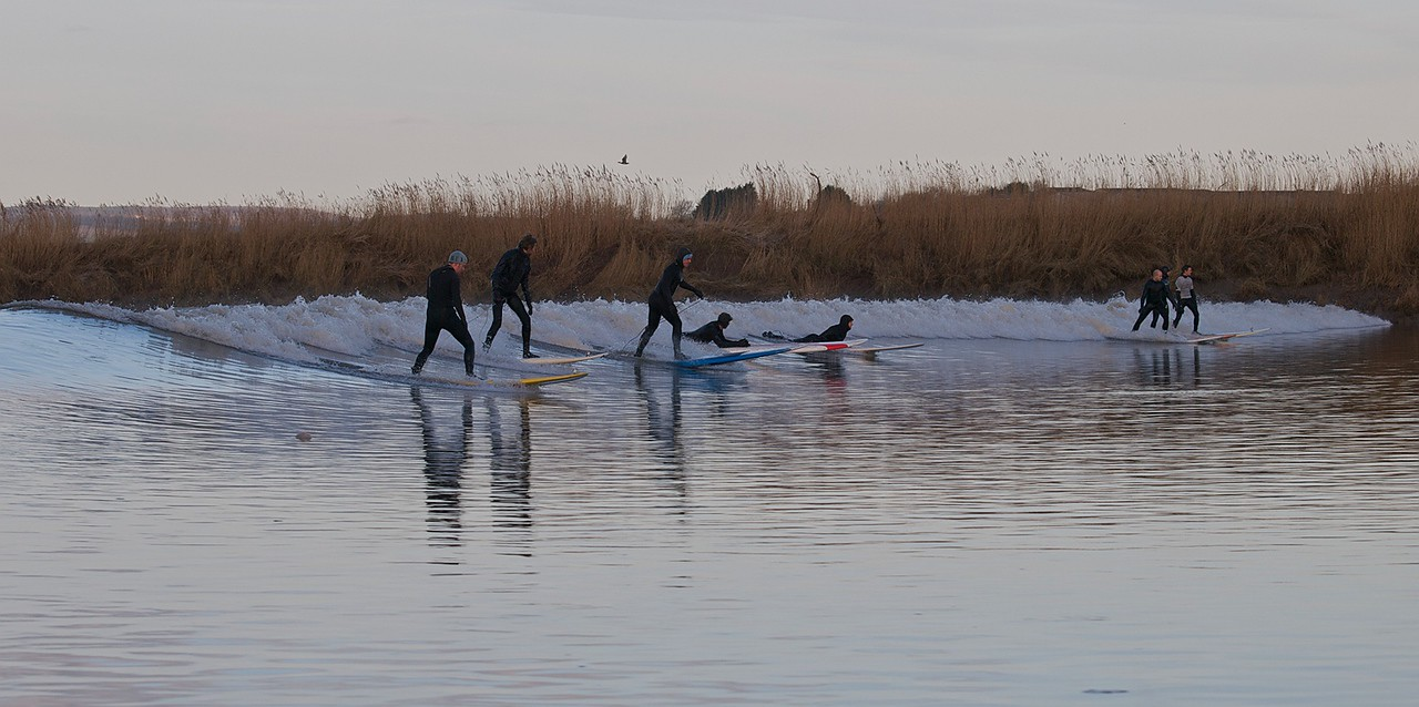 Neat shot of 8 surfers riding the Severn Bore. Spot the goofy foot :) All photos captured with Olympus E3 and 12-60mm/50-200mm SWD lenses.