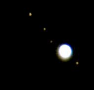 A camera shot of the planet Jupiter with its moons Europa, Ganymede and Callisto and Io pleased with this since it was a mere camera capture (no telescope). Captured with Olympus E3, 90- 250mm lens with x2 TC. Shutter speed was nearly half a sec to actually get them all bright enough to expose!! I do need a telescope :-) Just goes to show what you can capture with a mere camera....so no excuses folks :-)