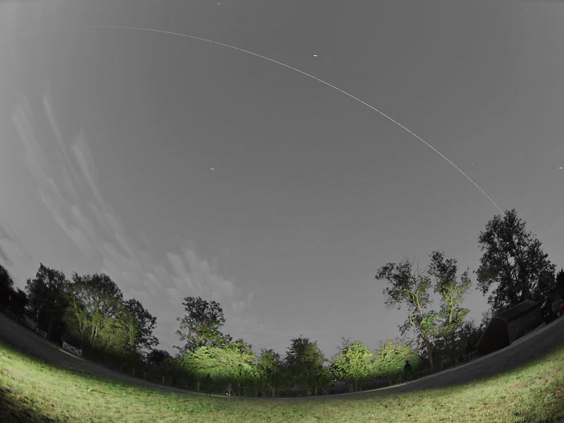 June 07 2011. Early hours ISS flyby (0341-0347hrs) over UK skies. Also captured the earlier 0208hrs flyby but partly clouded out. A very bight -3.7 magnitude. Captured with Olympus E5 & 8mm fisheye.