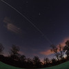 16 Oct 2013. iss flyby 1920 hrs. Composite image of very bright pass. Iridium flare chucked in for good measure :-)