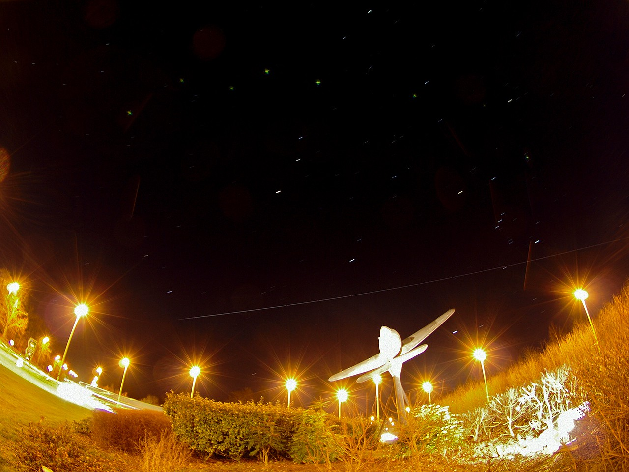 The modern day ISS flies over the Whittle memorial (Jet engine) in Lutterworth, Leics. I wonder what Sir Frank Whittle, inventor of the Jet engine, would make of the current day flight technology. Amazed no doubt. A nice touch of the old vs new. Captured with Olympus E3 and 8mm fisheye. 4 min exposure total captured in 10s increments and stacked.