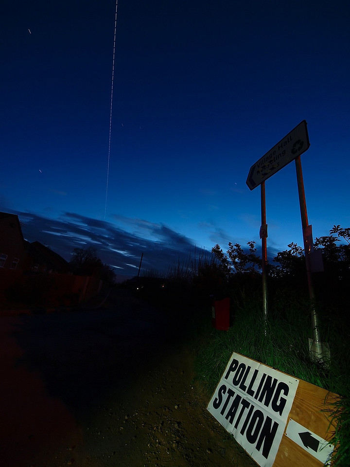 May 6 2010. British voters hit the polling stations, as does the ISS. The Polling Station in Walcote, Lutterworth, Leics had an visitor from outer space! The International Space Station (ISS) flew in to cast its vote, just at the right time. Quite a lucky capture to get it all coming together at the right time plus clear skies! The ISS is mega bright in the skies atm. It is the biggest, brightest object orbiting earth and only the sun and moon are brighter objects. It is as wide as a football field. Captured with Olympus E3 7-14mm lens.