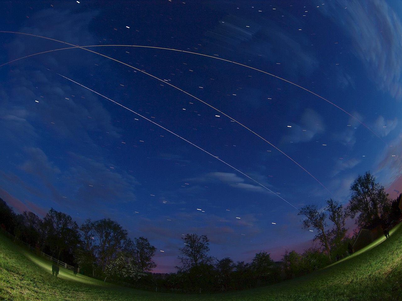 The ISS has been making multiple flybys over UK skies in recent days. Perfect opportunities for capturing multiple composite images, should the weather oblige. Sadly we have had much cloud over the last week, but on 6 & 7 June we graced with a few clear sky nights. This composite shows a triple flyby from the 2 nights. The camera was camped out all week on tripod. Olympus E3, 8mm fish, F3.5, 15s  (dozen or so composite for each flyby).   The final composite was put together with StarStax software.