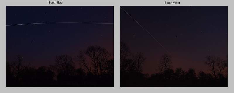 April 21 2011. International Space Station (ISS) passes over UK skies at 2125-2130 hrs. Set up 2 cameras looking south west and south east to maximise field of view, without distortion of a wide angle lens. Captured with Oly E5 (right) and Oly E3 (left). Both cams at ISO 400, E5 approx 12 No 6s exposures & E3 approx 12 No 10s exposures. Both stacked in startrails software and put together in a pano format with Pixelmator.