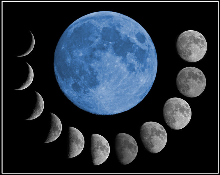 Lunar montage 2012. I started this shoot with phases of the moon in April 2012. It has taken 6 months awaiting the right weather conditions to achieve. It culminates with the August end blue moon, so called because it was the second full moon in one calendar month - a rare event and hence the name. Blue moons occur every 2-3 yrs. All lunar phases were captured with the Olympus E5 & 90-250mm lens with the addition of a x2 TC. This yields a max focal length of 500mm (35mm equivalent of 1000mm due to the four thirds sensor x2).