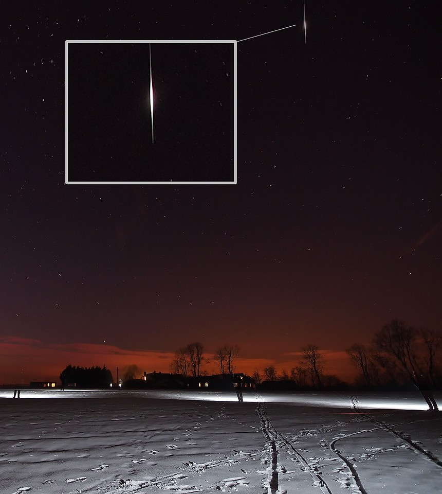 Feb 11 2012. Nice bright Iridium flare captured over a snow laden field during my startrail shoot. Olympus E5, 7-14mm, ISO 500, single 15s exposure, F4. Sometimes it is hard to tell the difference between an Iridium flare and a meteor. Iridium Flares are common communication satellites which illuminate when the sun reflects off their bright antennas. Usually the brightness, colour and trajectory are a giveaway (noticeably brighter in the center and dimmer at its ends). Iridium flares can also be accurately predicted (http://www.heavens-above.com) and which is the best indicator for confirming, as long as you note the time, direction and elevation. Check out my article on shooting meteors etc here - http://tinyurl.com/3pckhkc