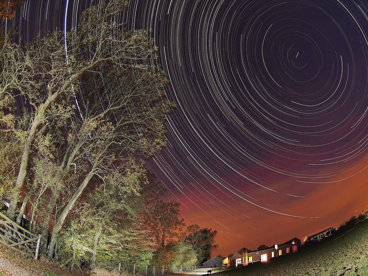 Oct 01/02 2011 startrail. The autumnal heatwave & clear skies continues, although the frontal system is approaching as can be seen looking towards the west in this shot . Used the trees to compose and lead you into the startrail. This one was a mere 7hrs worth of continuous shooting :-) Captured with Olympus E5 & 8mm fisheye. 15s exposure time, F3.5 and ISO 500. Foreground and trees lit with flash bursts. Unfortunately I had a tripod wobble moment partly through the shoot which resulted in loss of the concentric trails (more visible nearer Polaris).