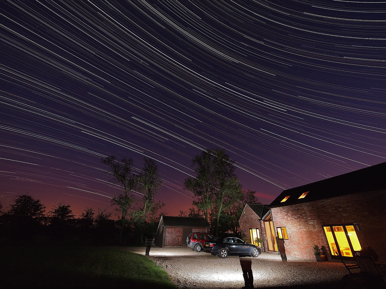 April 23_24 2011. 1000 images to produce this great star trail. Composition worked really well & I used the flash gun to paint a bit of foreground. Nicely captured the opposing curvature either side of the celestial equator. Oly E5, 7-14mm. 15s exposures @ F4 ISO 500 shot continuous through night. The Icelandic volcanic ash is slowly making its way ;-)