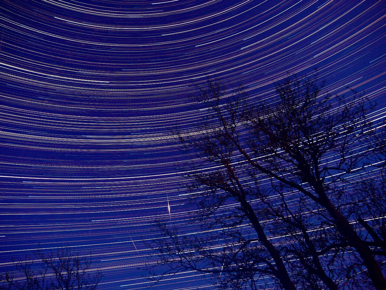 May 09 2010. Startrail from a south/south east facing night sky. Bonus of 3 meteors from the Aquariids shower. Captured with Olympus E3, 12-60mm SWD lens. 15s exposures from 2200hrs on 9th through 0600hrs on 10th. Images stacked to produce the startrail.
