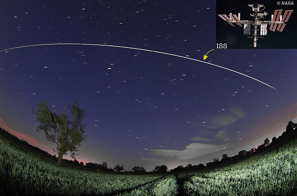 June 08 2011. Early hours ISS flyby (0231-0236hrs) over UK skies. ISS pic (© NASA)  shown for reference A very bright -3.3 magnitude. Captured with Olympus E5 & 8mm fisheye. The International Space Station is the biggest and brightest object orbiting Earth (The moon does not orbit the center of the earth, rather, they both revolve around the center of their masses called the barycenter).The station's solar panels span 240ft tip to tip, as wide as a football field. The ISS outshines Venus & only the sun and moon are brighter.