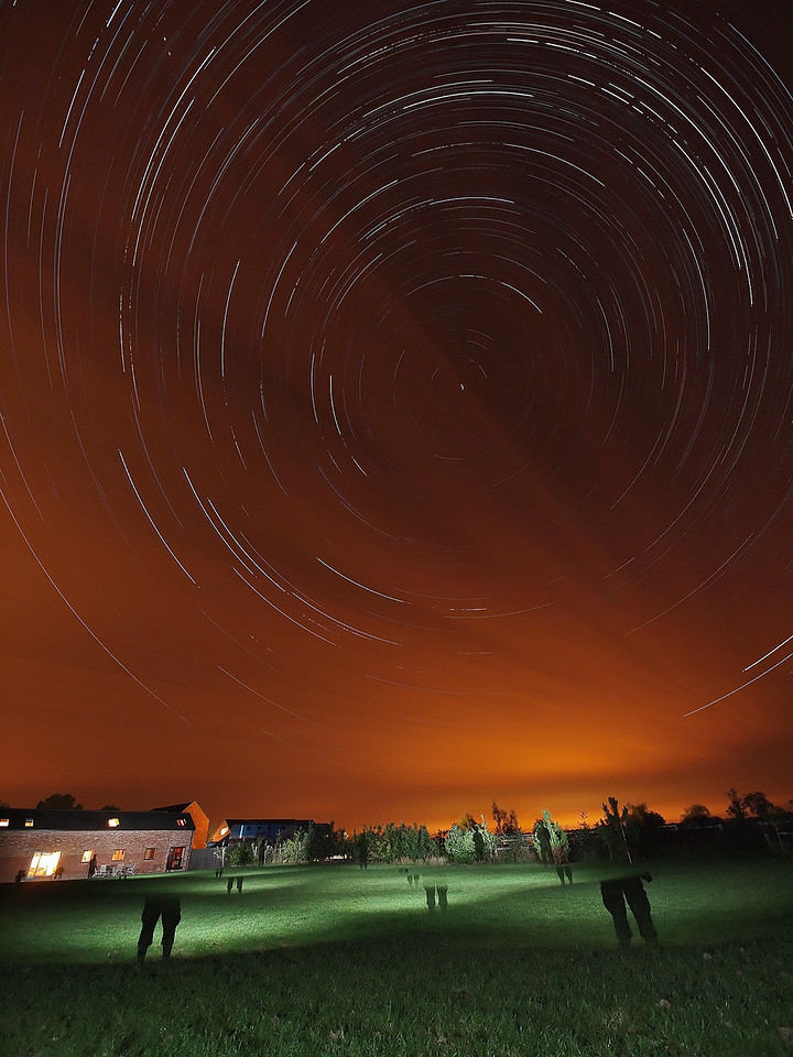 01/02 Sept 2011. First clear sky evening for many a week. So much for the summer! Cloud did roll in during early hours but gave a nice effect to the trail. Captured with Oly E5 & 7-14mm. ISO 500, F4, multiple 15s exposures stacked. Ghostly effect added by firing off flash at various locations in foreground. Flash held in front of my body to create the shadow effect.