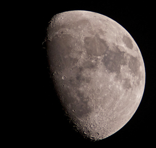 01 April 2012. April Fool waxing moon. Captured with Olympus E5, 90-250mm with x2TC. F5.6, 1/250, ISO 200