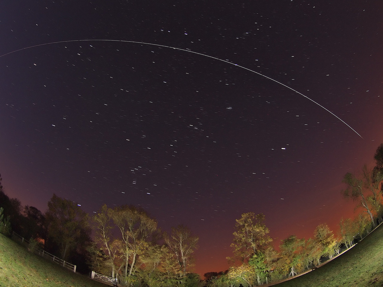 Oct 01 2011 ISS pass from 0547hrs flyby. Approx dozen exposures combined & captured with Olympus E5 & 8mm fisheye.