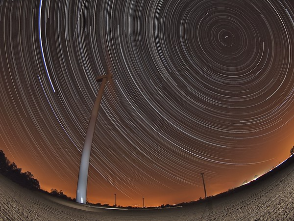 Star Trail over a wind farm in Leicestershire for a client who loves the iconic nature of these modern day giant structures and wanted something different. They certainly got that. The star trail also captured the International Space Station passing over (above turbine blade).