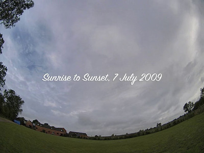 July 07 2009. Great time lapse from a fisheye perspective. Lots of rolling convective clouds, precipitation and fronts with some great wind shear too. Especially the accelerating bands of precip towards the end.