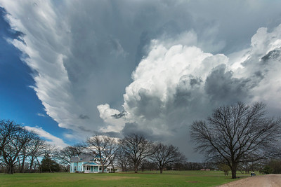 A supercell thunderstorm explodes over Celina, Texas on April 3, 2014.