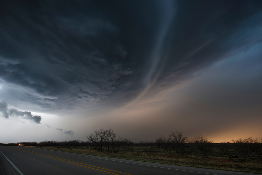 A supercell thunderstorm just south of Throckmorton, Texas.