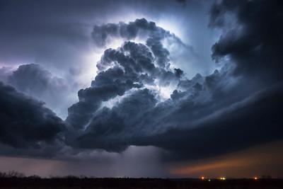 A severe thunderstorm lights up from intercloud lightning over Throckmorton, Texas.
