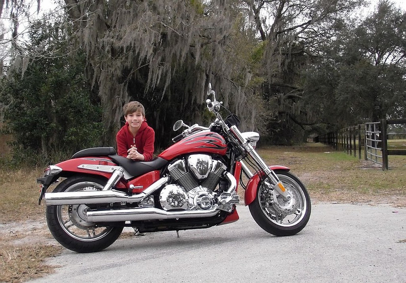 My son and my big Honda VTX1800