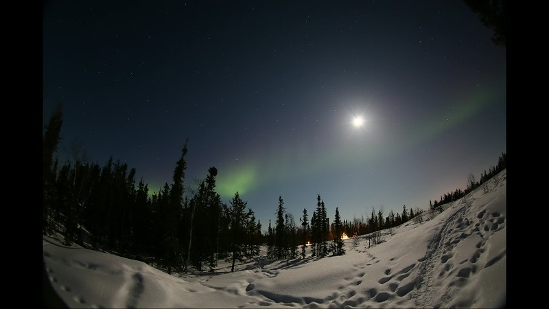 Northern lights and Moon