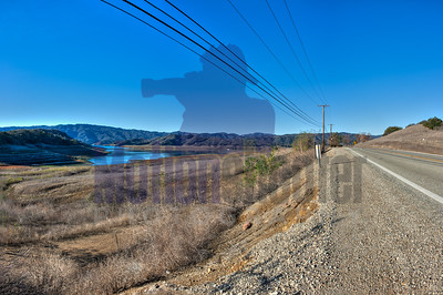 Highway 150 looking over Lake Casitas at it lowest point since its creation. January 14, 2016.
