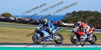 World Moto GP Championship. Round17 @ Phillip Island. Australia.Michelin Australian Motorcycle Grand Prix. Sunday. 28.10.2018. 2nd place battle. #29 Andrea IANNONE (ITA) Team Suzuki Ecstar.3rd. #4 Andrea DOVIZIOSO (ITA) Ducati Team.© ATP / Damir IVKA