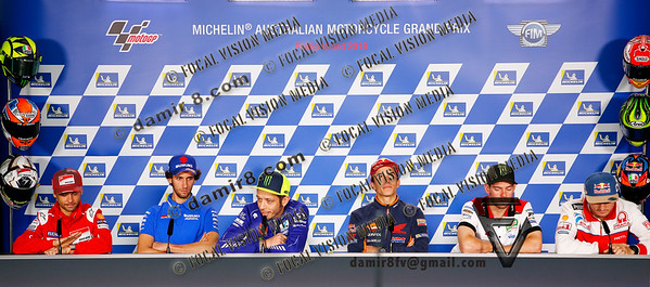 World Moto GP Championship 2018. Round17 @ Phillip Island. Australia. Michelin Australian Motorcycle Grand Prix. Thursday. 25.10.2018. Press Conference.#46 Valentino ROSSI (Ita) Movistar Yamaha MotoGP speaks as Marc MARQUEZ (Esp) loos for devine intervantion from above.© ATP / Damir IVKA