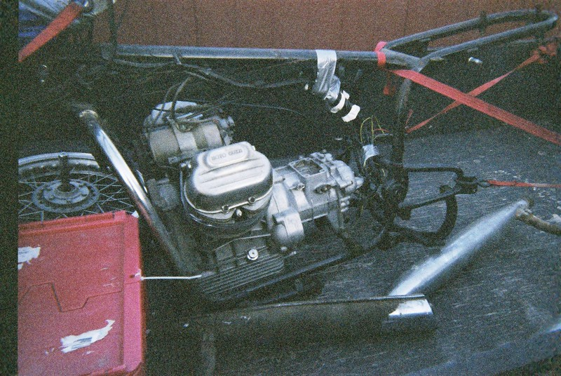 1974 Moto Guzzi Eldorado in pieces in the trailer after purchasing in Upper Sandusky Ohio.