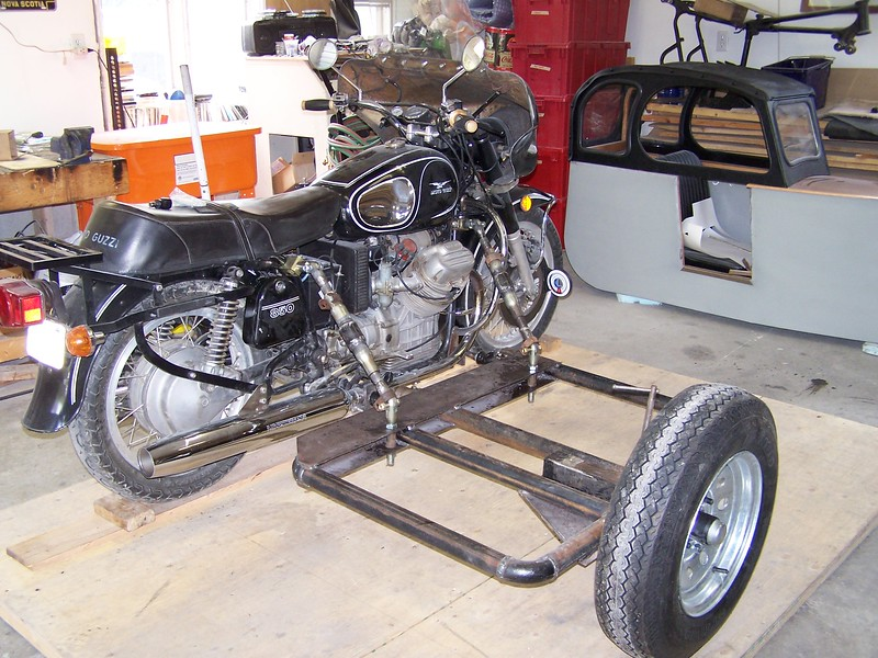 Sidecar chassis attached and on the set up table.