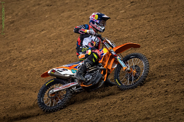 Red Bull KTM pilot Ryan Dungey finishes 7th on the night after tangling with Peick in the whoops
