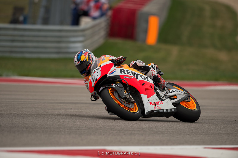 Repsol Honda pilot Dani Pedrosa rode hard but couldn't catch teammate and race winner Marc Marquez