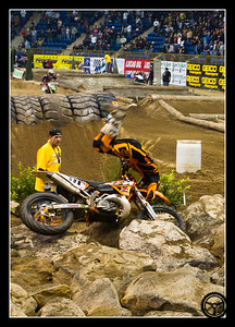 Taddy Blazusiak taking a spill in the rocks. (Denver Endurocross 2010)