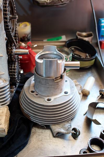 Premier montage a blanc du cylindre droit