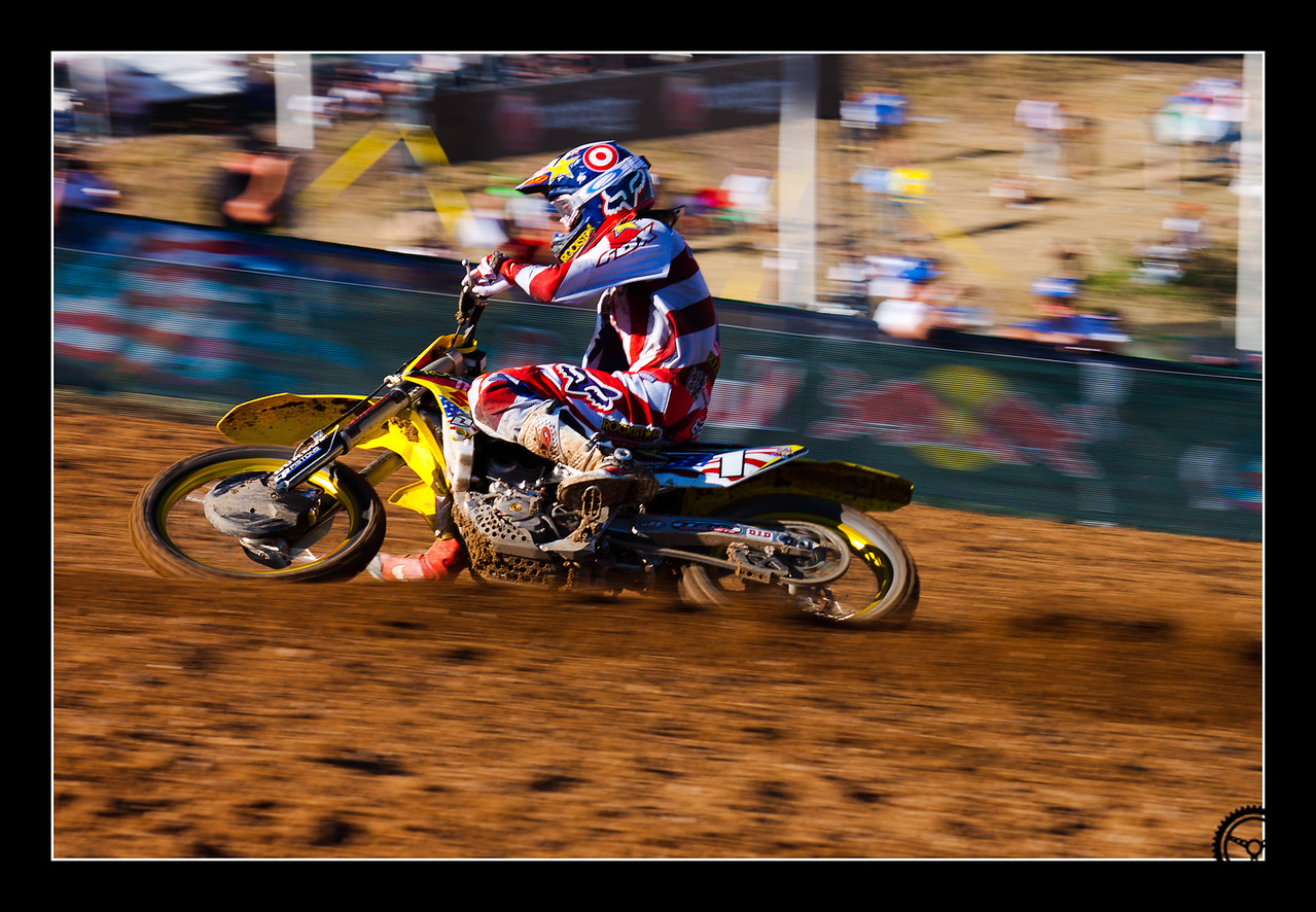 USA Champion Ryan Dungey flying up the main straight at the 2010 Motocross of Nations