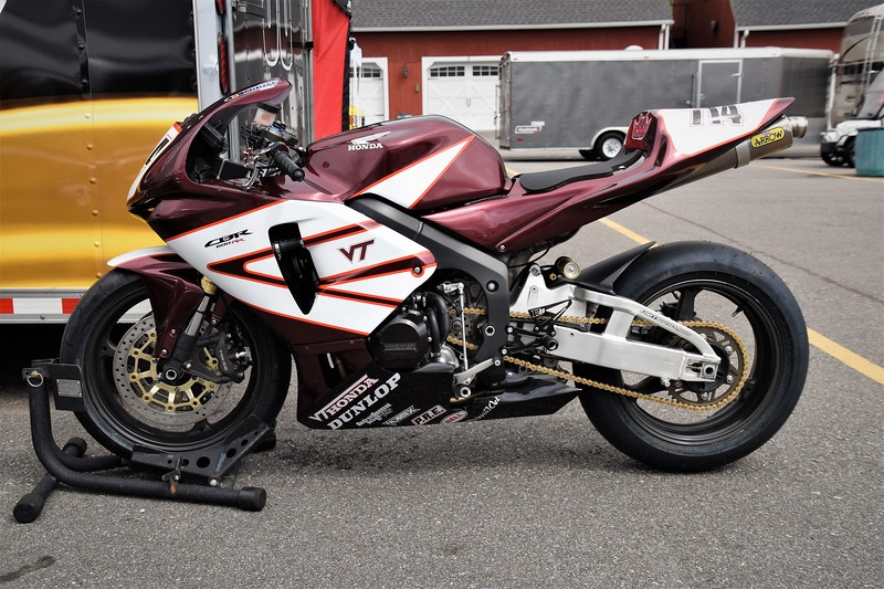 Honda CBR in Virginia Tech colors.