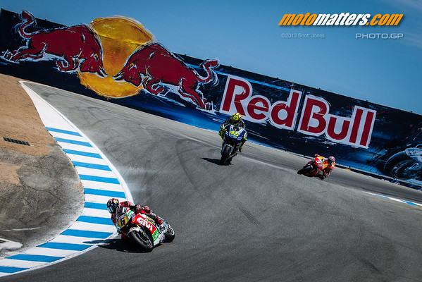 Stefan Bradl, Valentino Rossi, and Marc Marquez at Laguna Seca, 2013