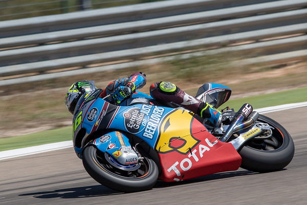Joan Mir riding the 2018 Kalex Moto2 bike at Motorland Aragon