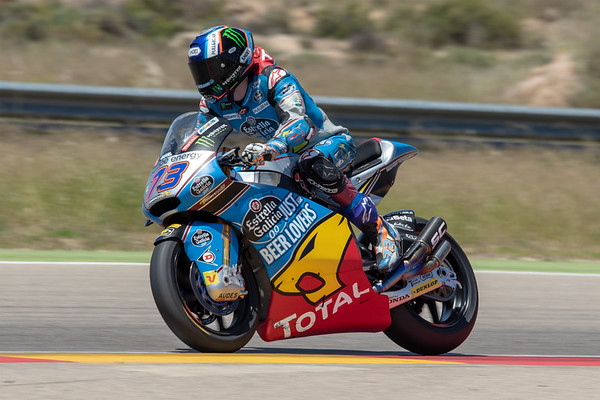 Alex Marquez riding the 2018 Honda-powered Kalex Moto2 bike at Motorland Aragon