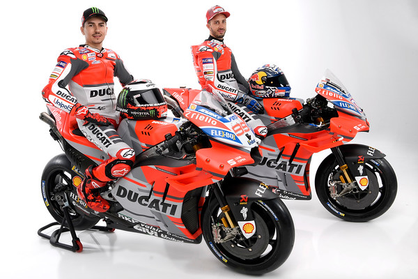 Jorge Lorenzo and Andrea Dovizioso in Ducati's 2018 colors, including a blank space for a new sponsor
